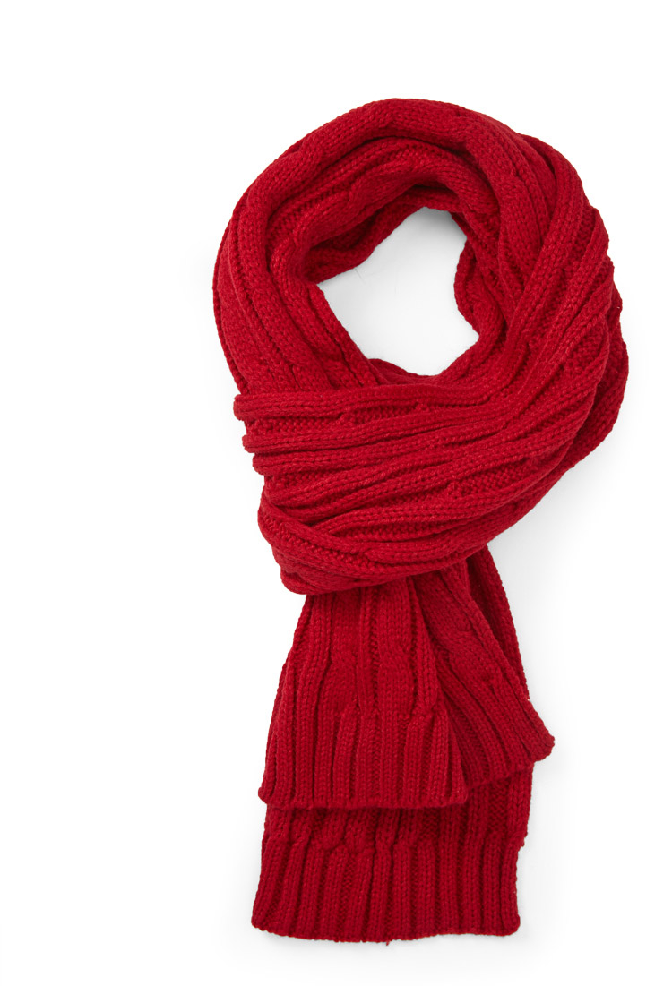 forever 21 cable knit scarf in lyst