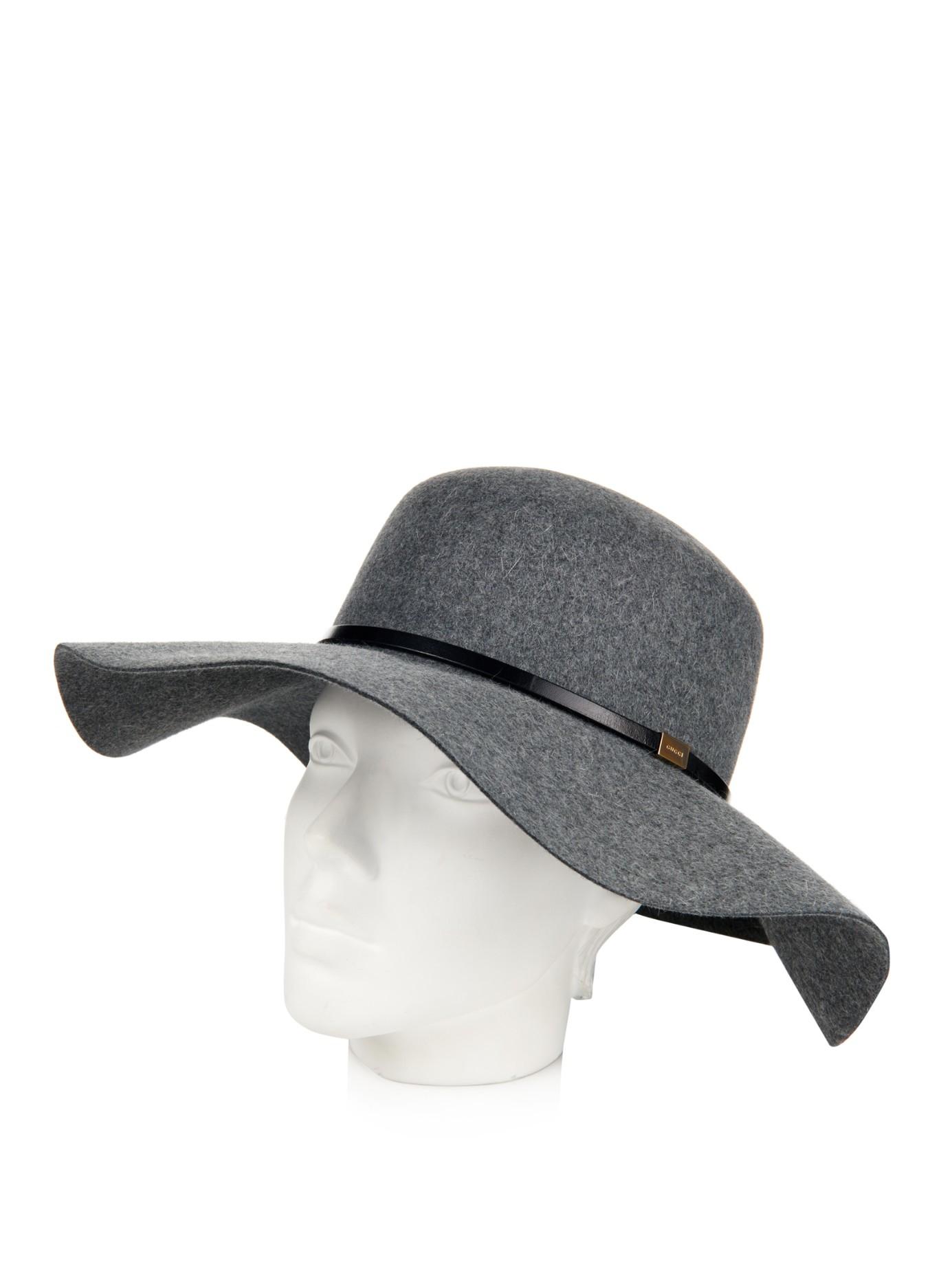 35960feb1731b2 Lyst - Gucci Wide-Brim Fur-Felt Hat in Gray