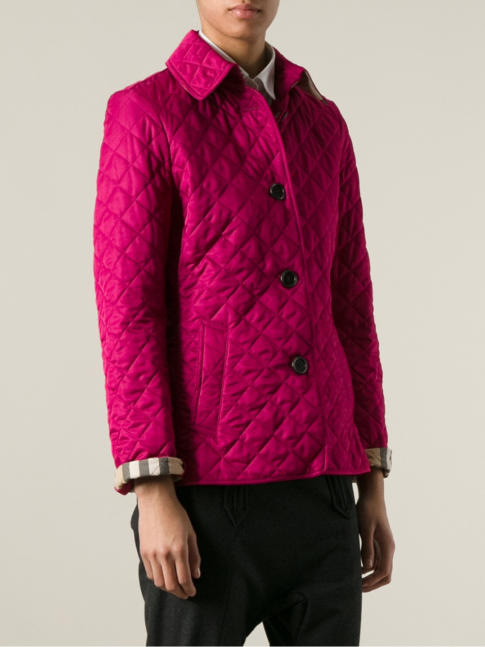 Burberry brit Quilted Jacket in Pink | Lyst