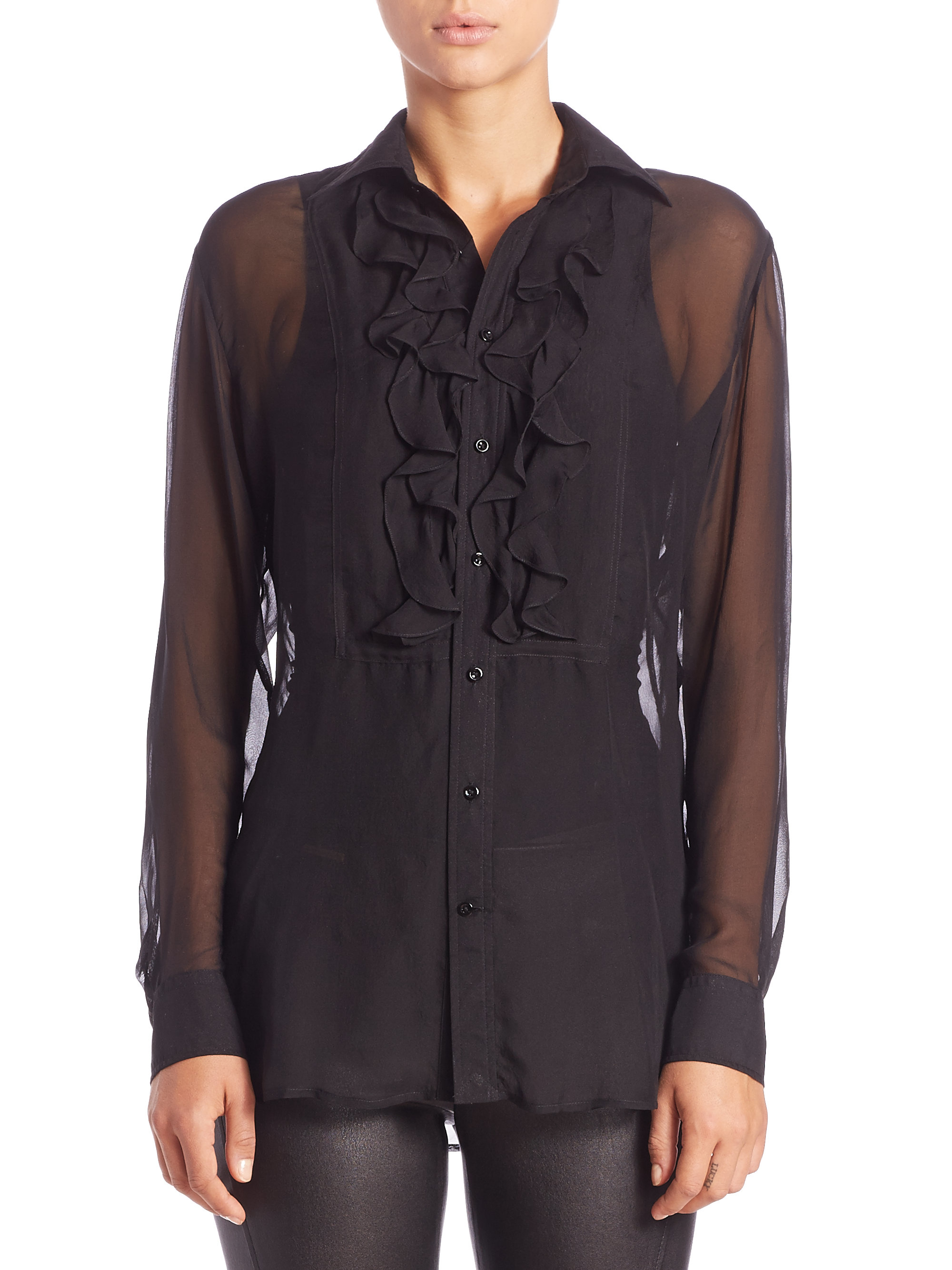 polo ralph lauren silk chiffon ruffled blouse in black lyst. Black Bedroom Furniture Sets. Home Design Ideas