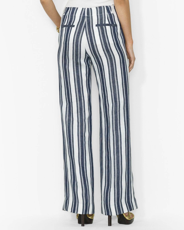 Ralph Lauren Lauren Stripe Wide Leg Pants In Blue Lyst
