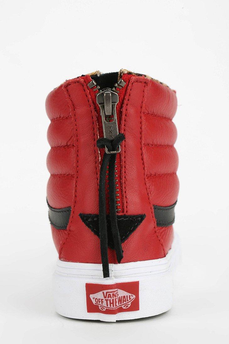Vans Sk8-Hi Leather Zip Sneaker in Red