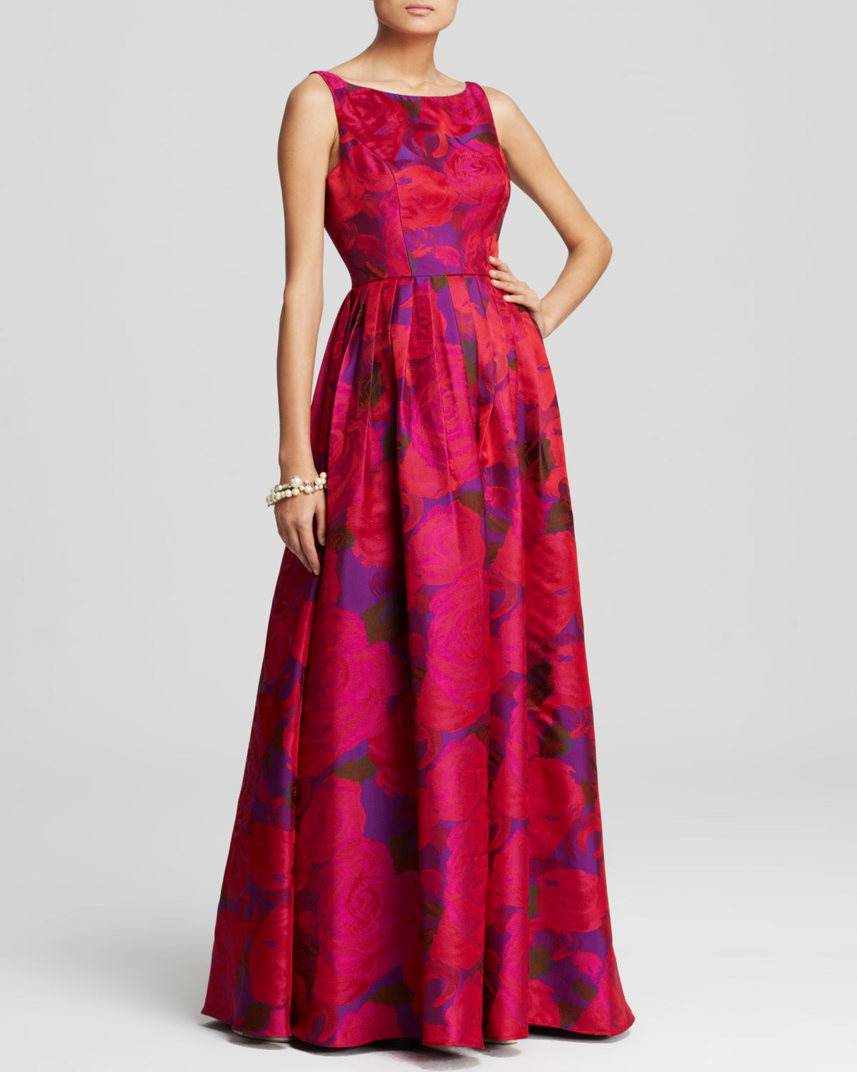 Adrianna Papell Gown Sleeveless Floral Print Ball In