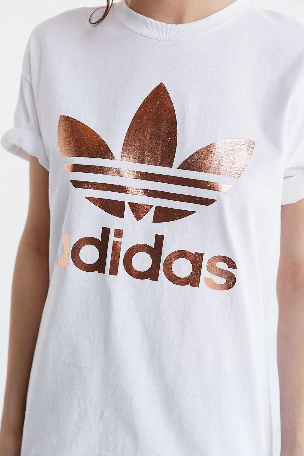 Adidas Originals Originals Metallic Logo T Shirt in White