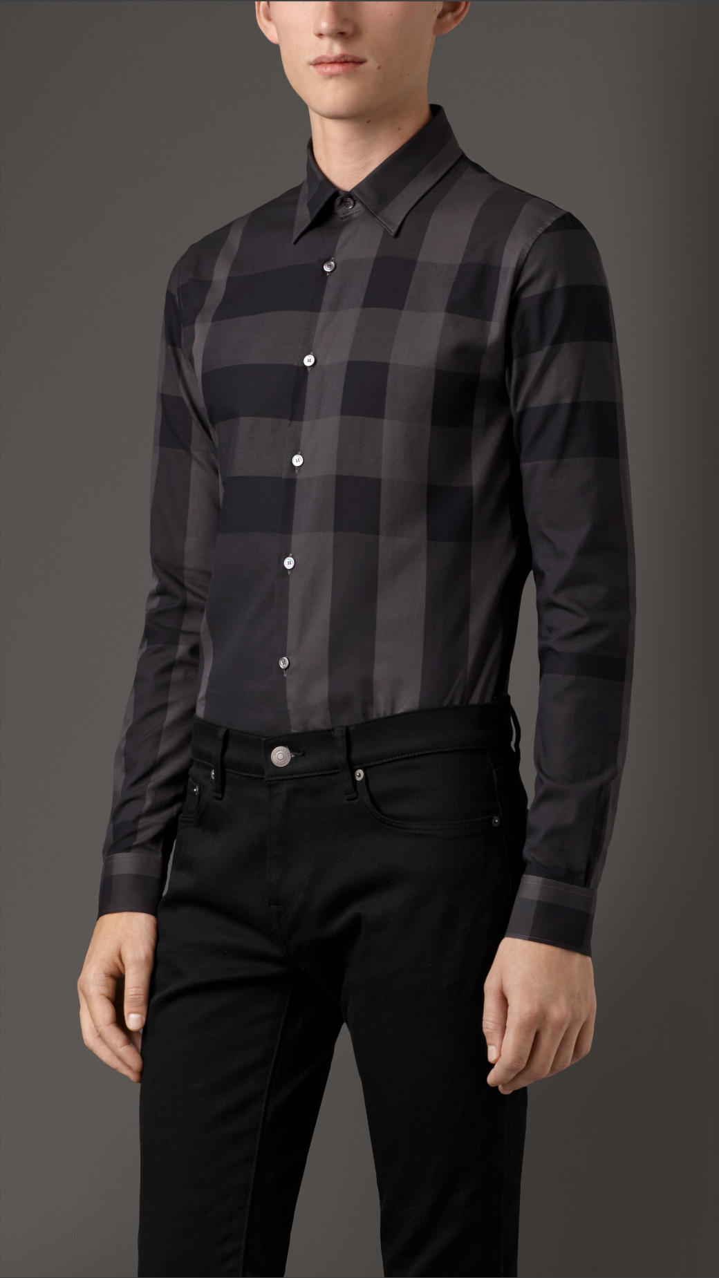 Lyst Burberry Slim Fit Check Cotton Shirt In Gray For Men