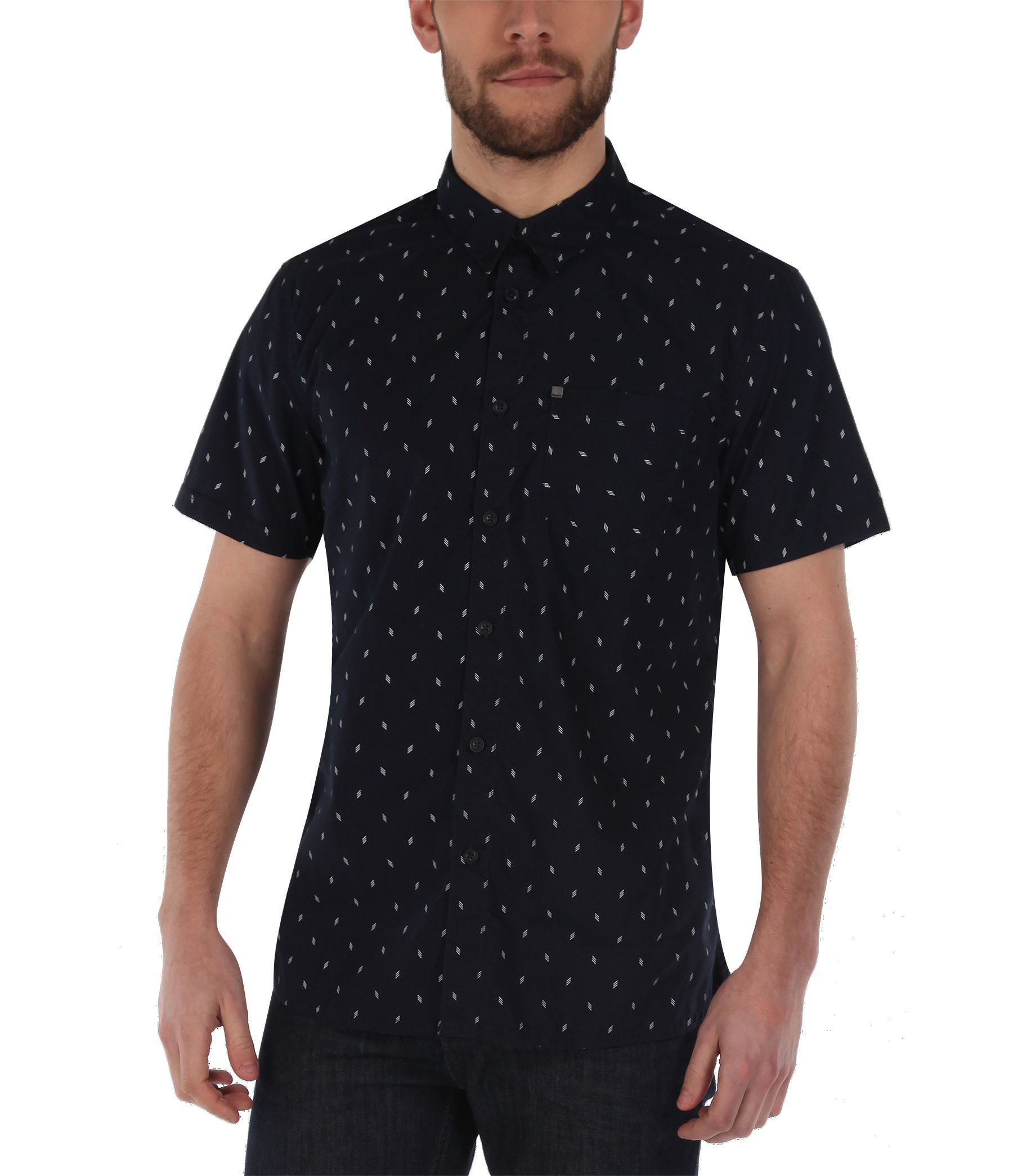 Bench rapson b pattern short sleeve shirt in blue for men for Mens short sleeve patterned shirts
