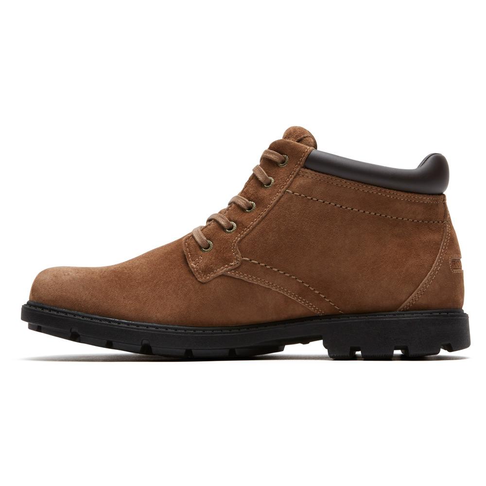 rockport rugged bucks waterproof chukka boot in brown for