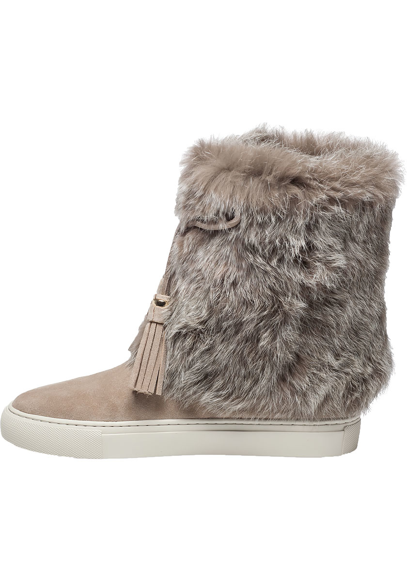 burch anjelica suede and fur boots in gray lyst