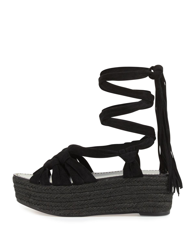 3f03d33f52c Sigerson Morrison Black Cosie Knotted Suede Espadrille Sandal