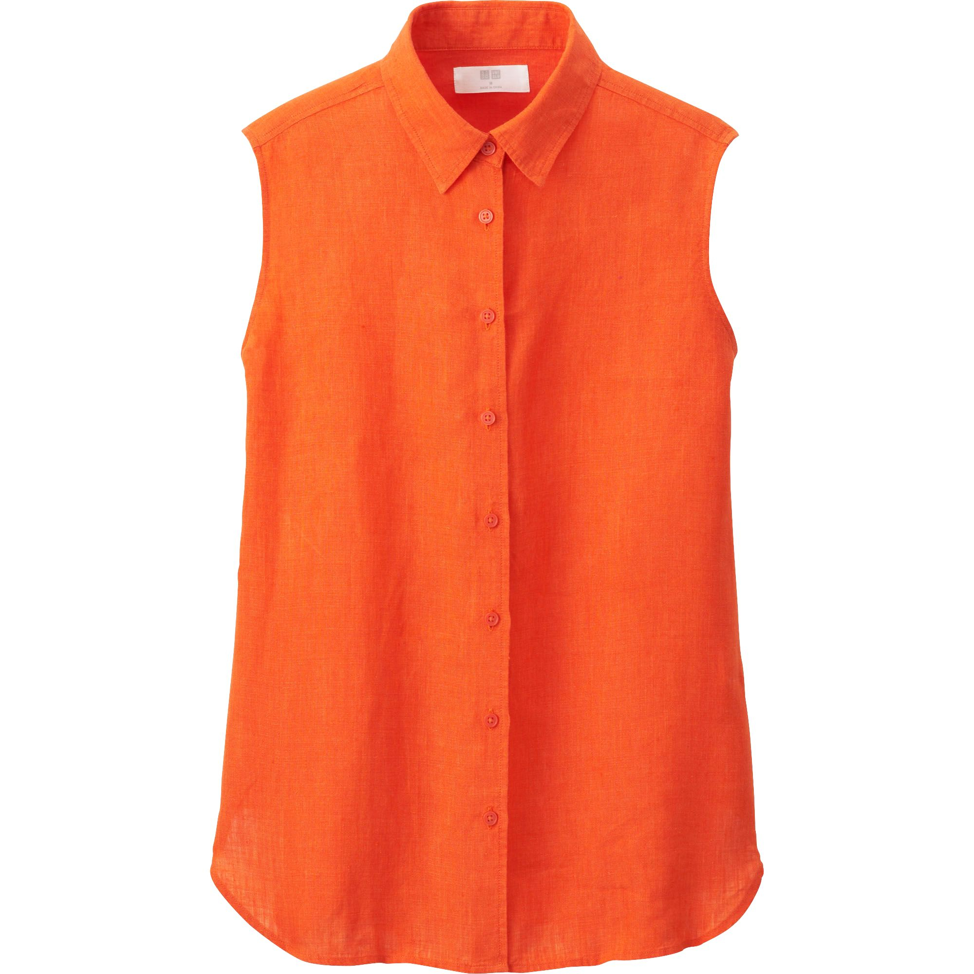 Uniqlo premium linen sleeveless shirt in orange lyst for Uniqlo premium t shirt