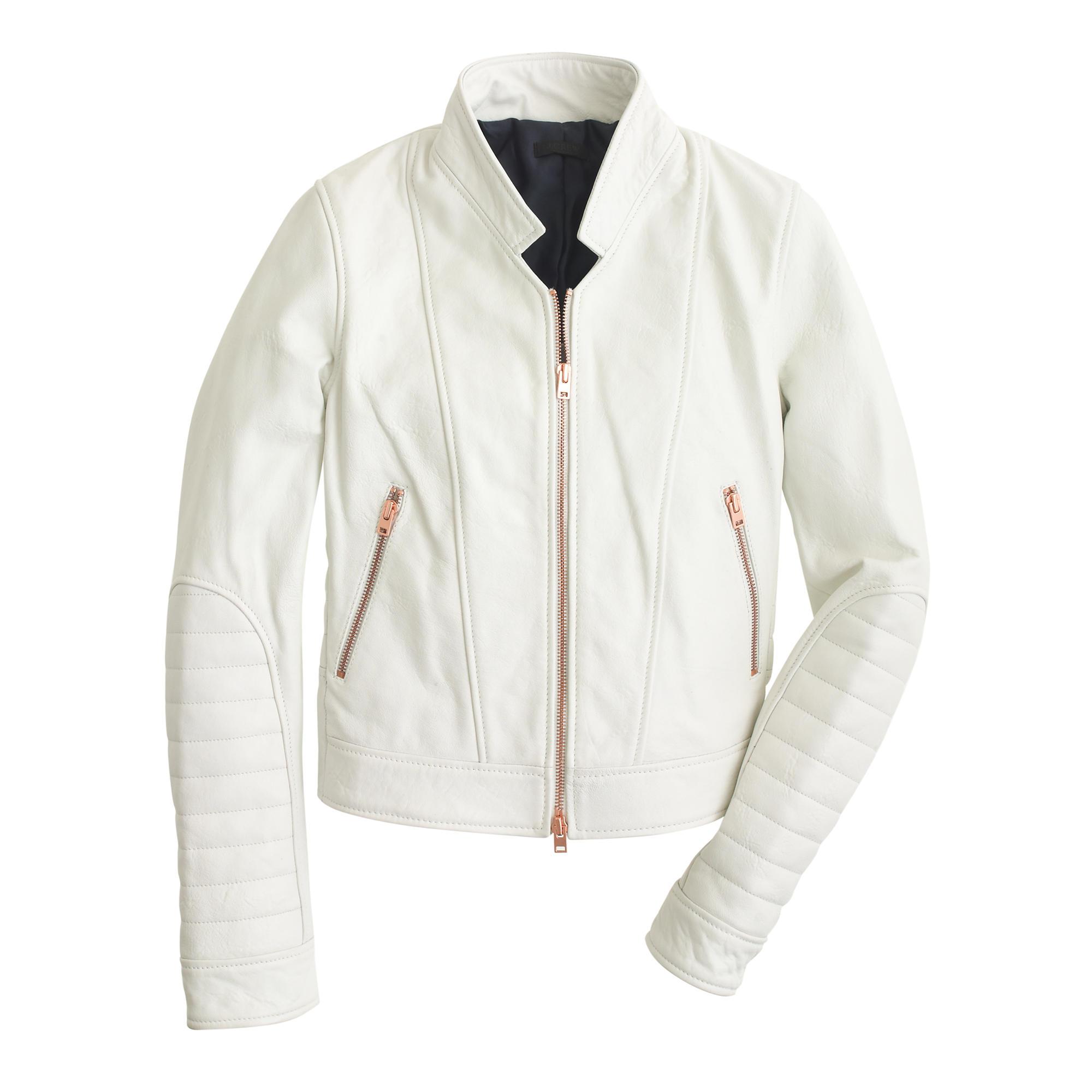 d7de8ea8d J.Crew White Collection Standing-collar Leather Jacket