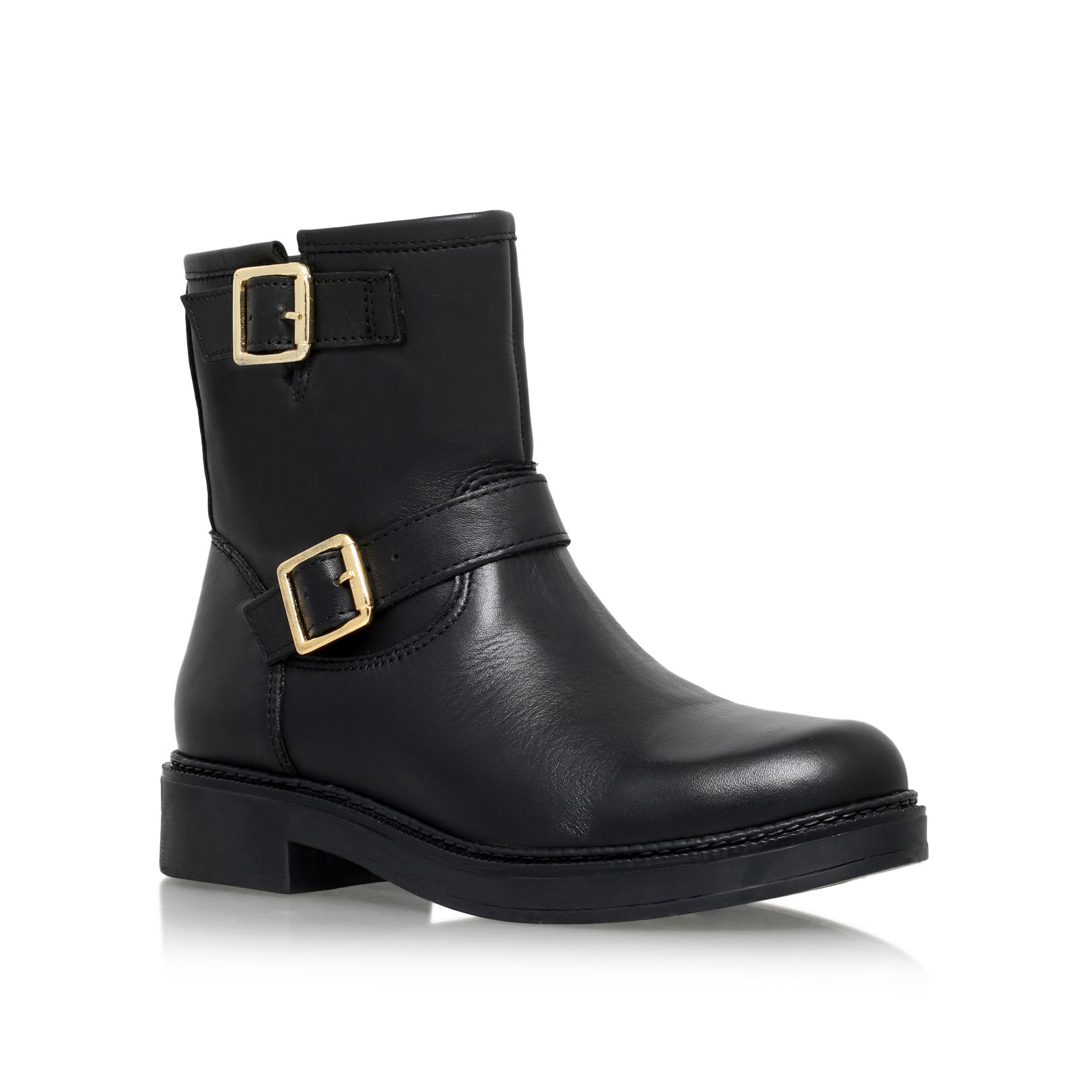 Carvela Kurt Geiger Shed Low Heel Biker Boots In Black | Lyst