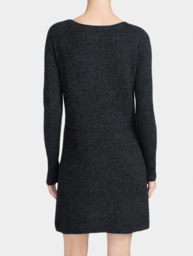White Warren Cashmere Shaker Knit Dress In Carbon Marl