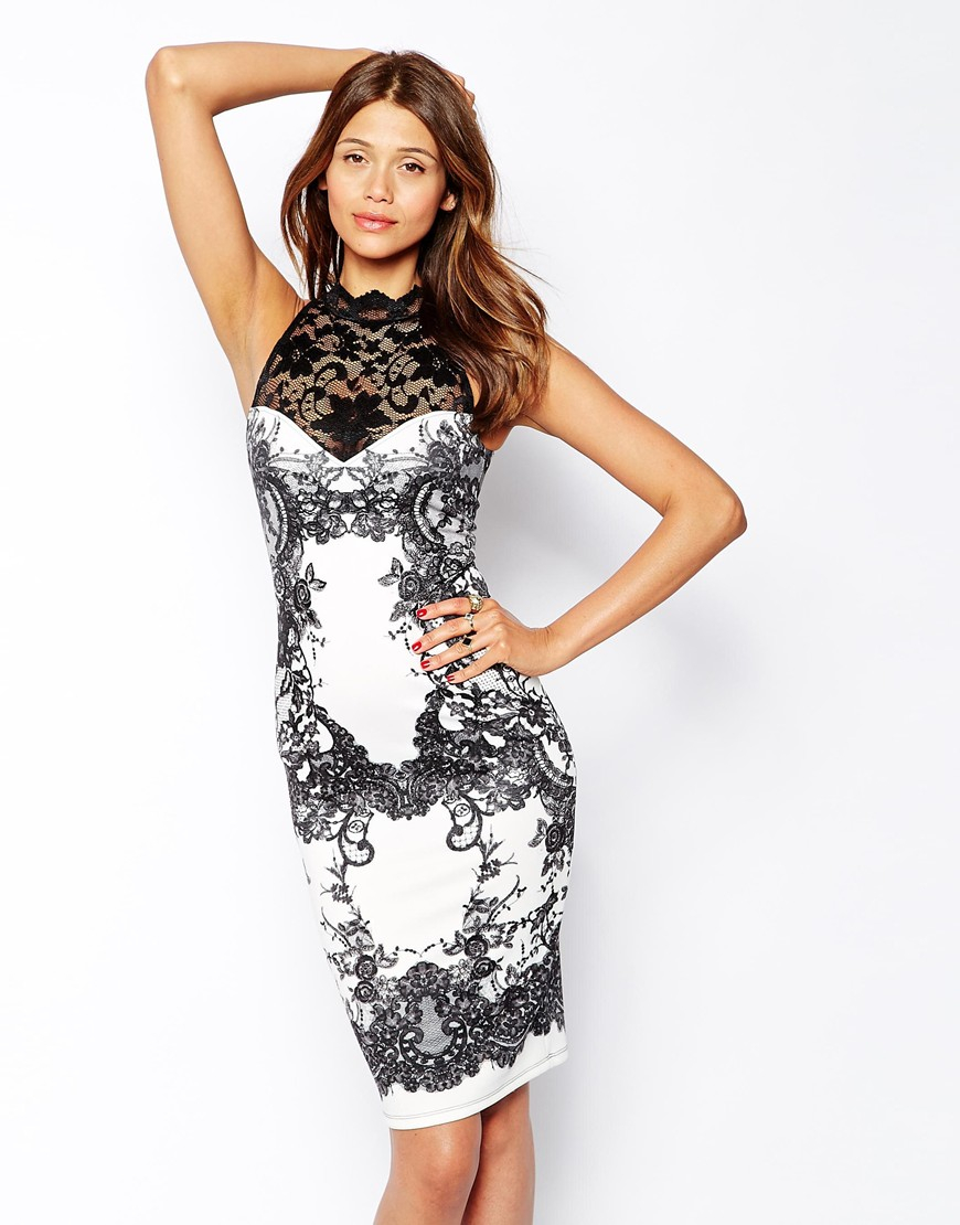 Lipsy button front bodycon dress in black