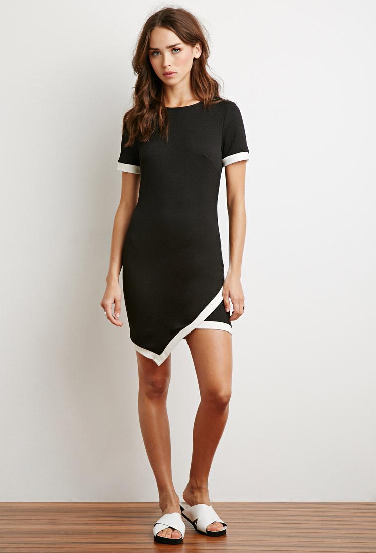 Forever 21 Matelass 227 169 Contrast Trim Dress In Black Lyst