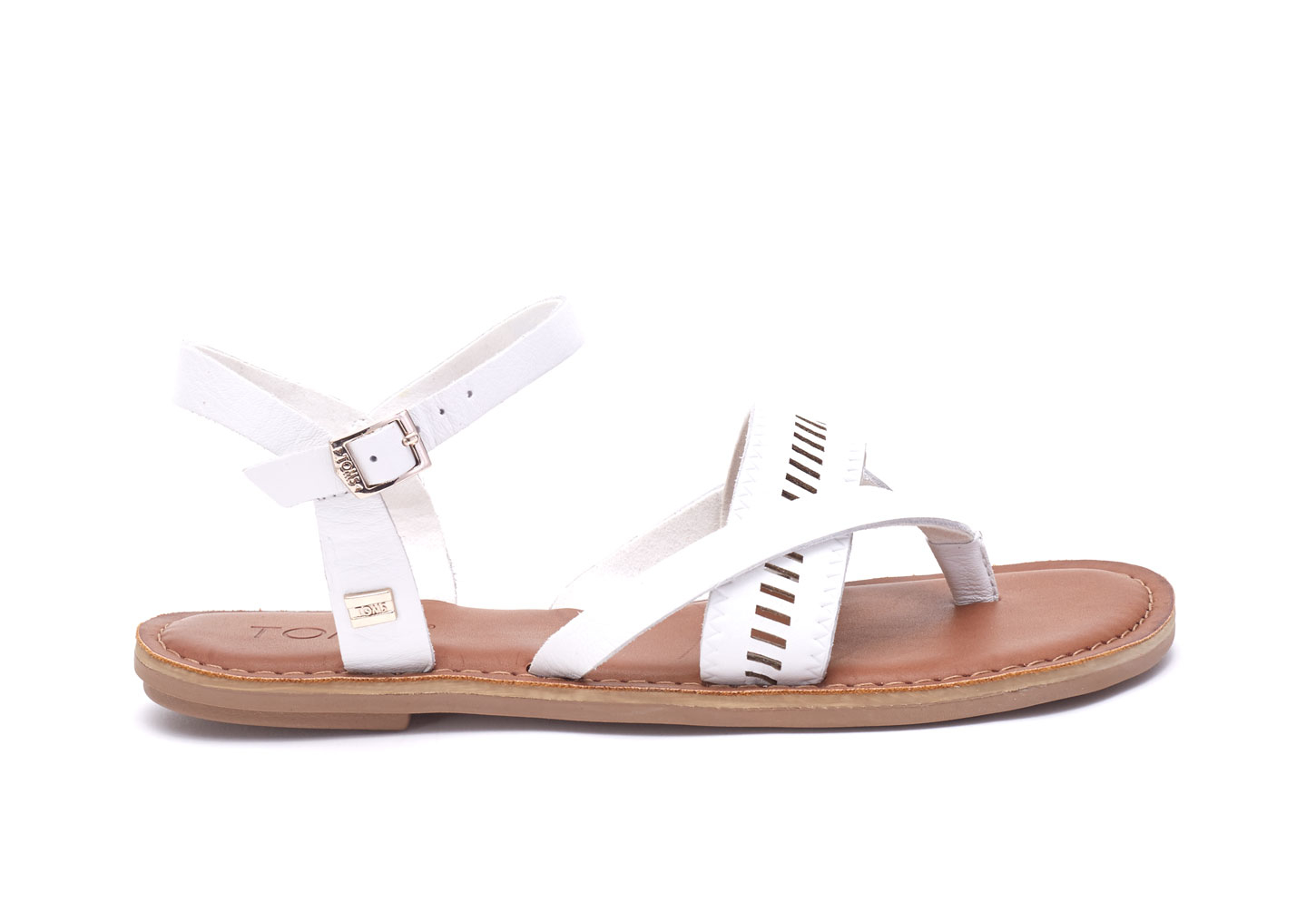 43d1b26d83a Lyst - TOMS White Leather Women s Lexie Sandals in White