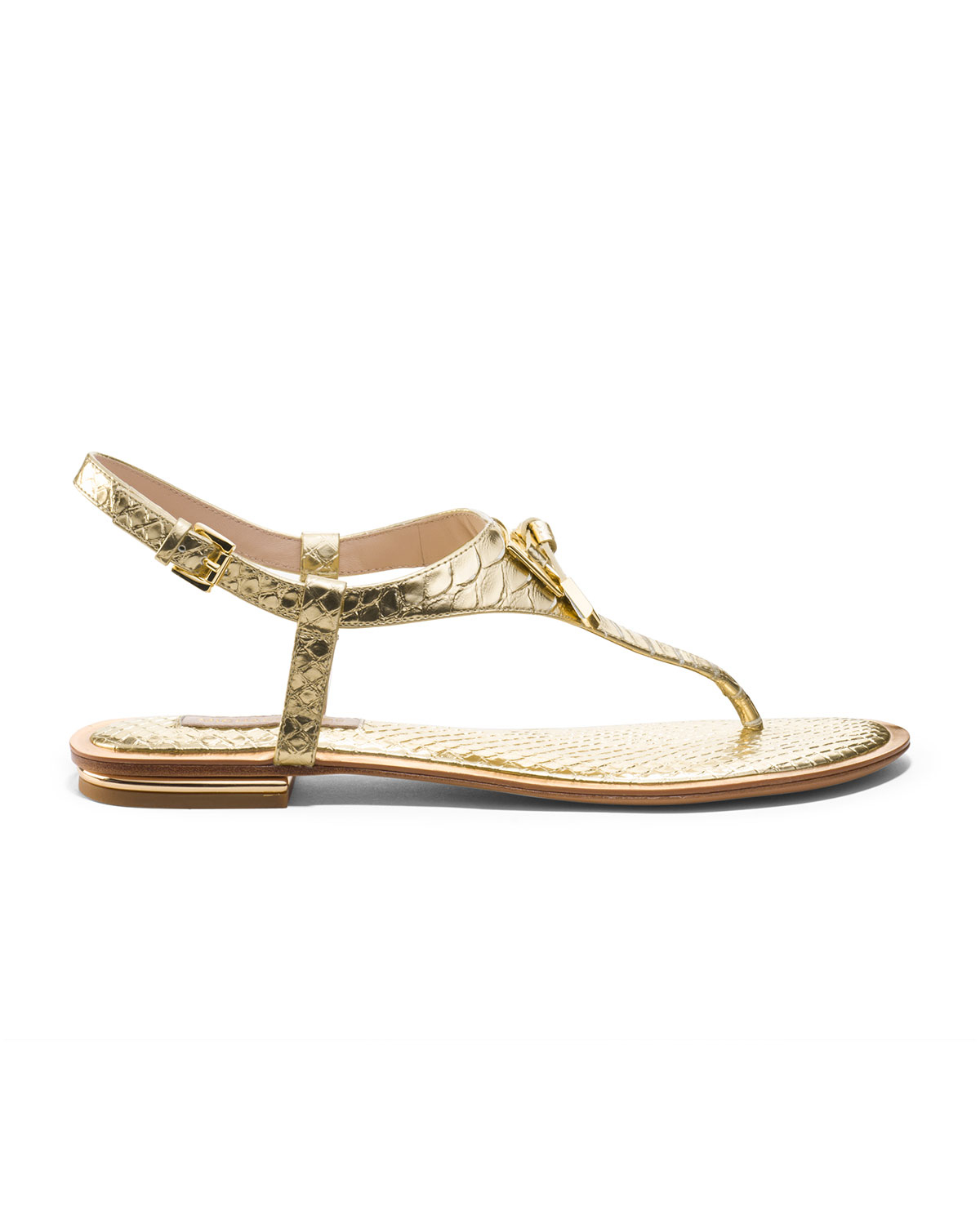Michael Kors Hara Bowdetail Thong Sandal In Metallic Lyst
