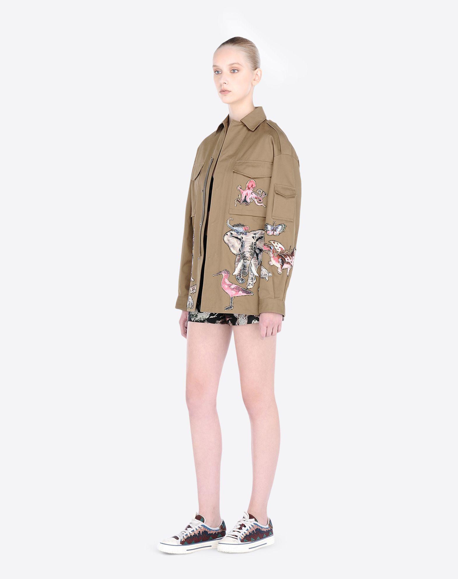 valentino embroidered chino safari jacket in green lyst