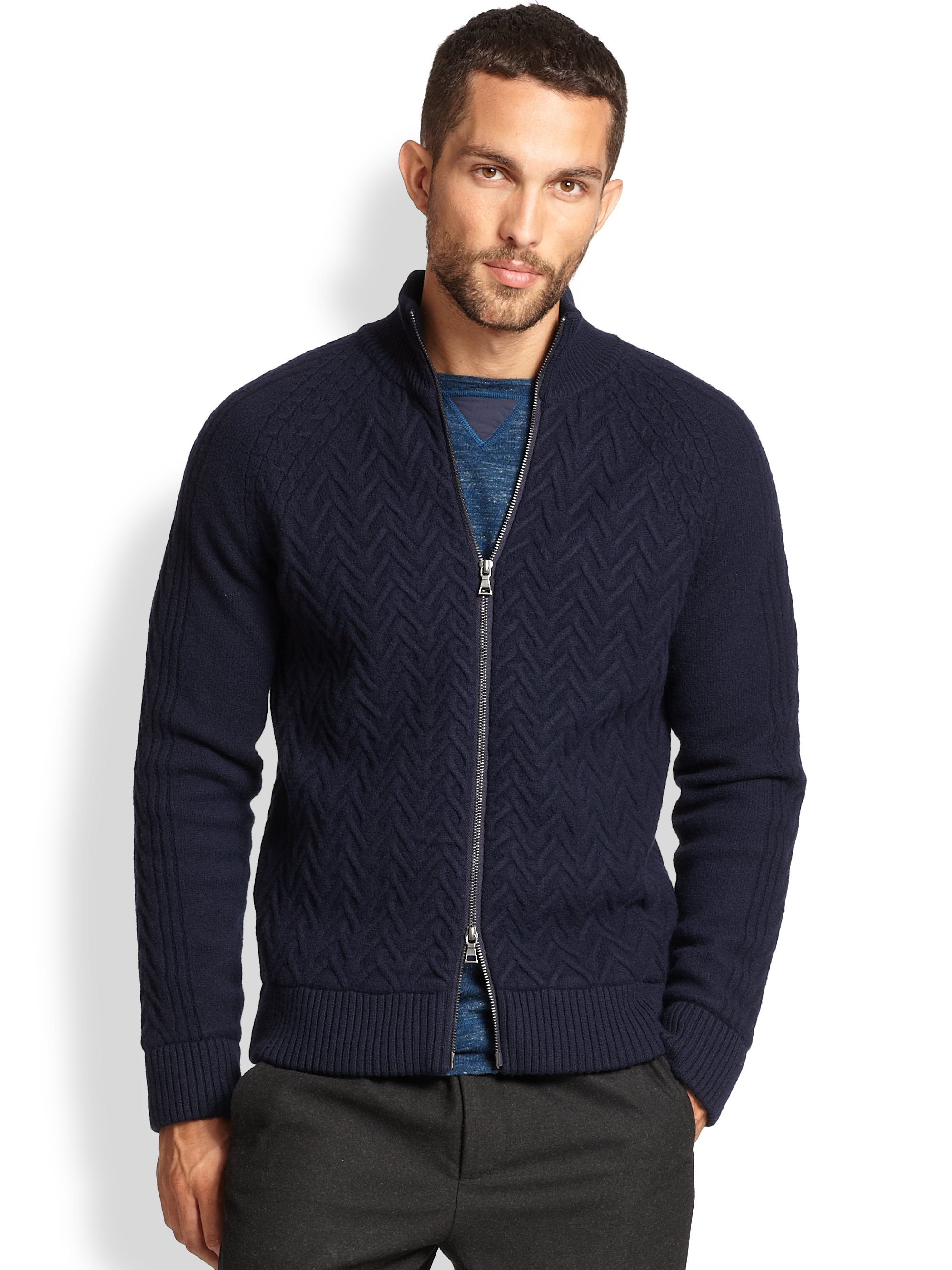 Vince Cable Knit Zip-Up Sweater in Blue for Men | Lyst