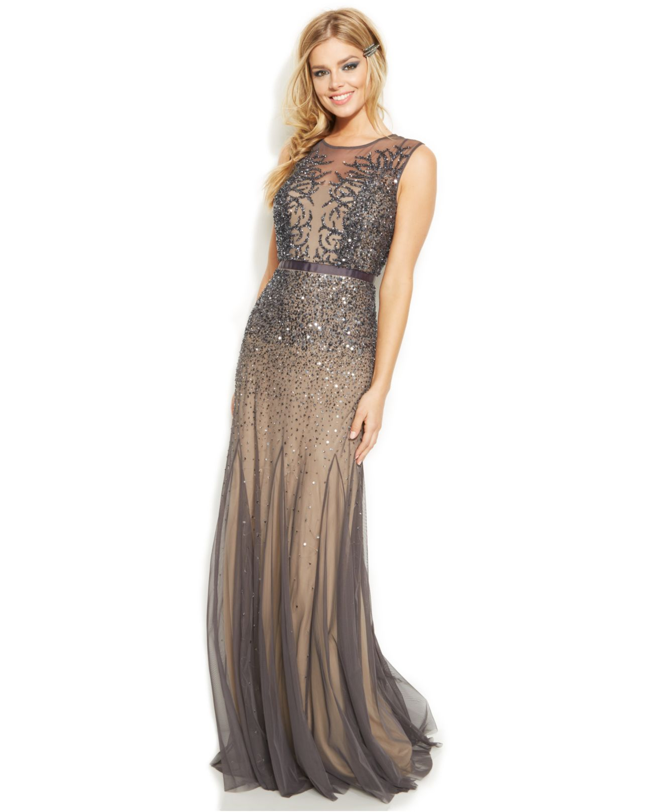 Adrianna Papell Sleeveless Beaded Illusion Gown in Silver