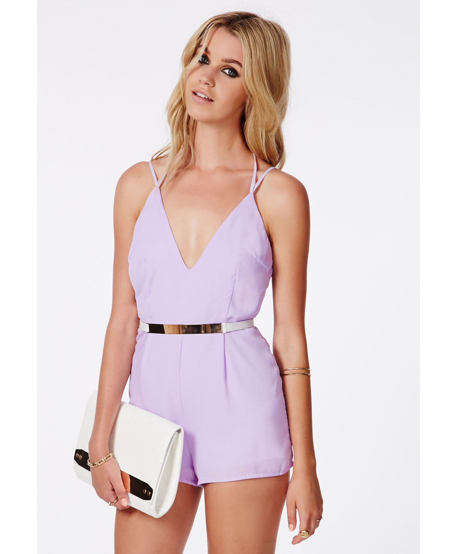 8d44b46b5761 Lyst - Missguided Lintley Chiffon Strappy Romper Lilac in Purple