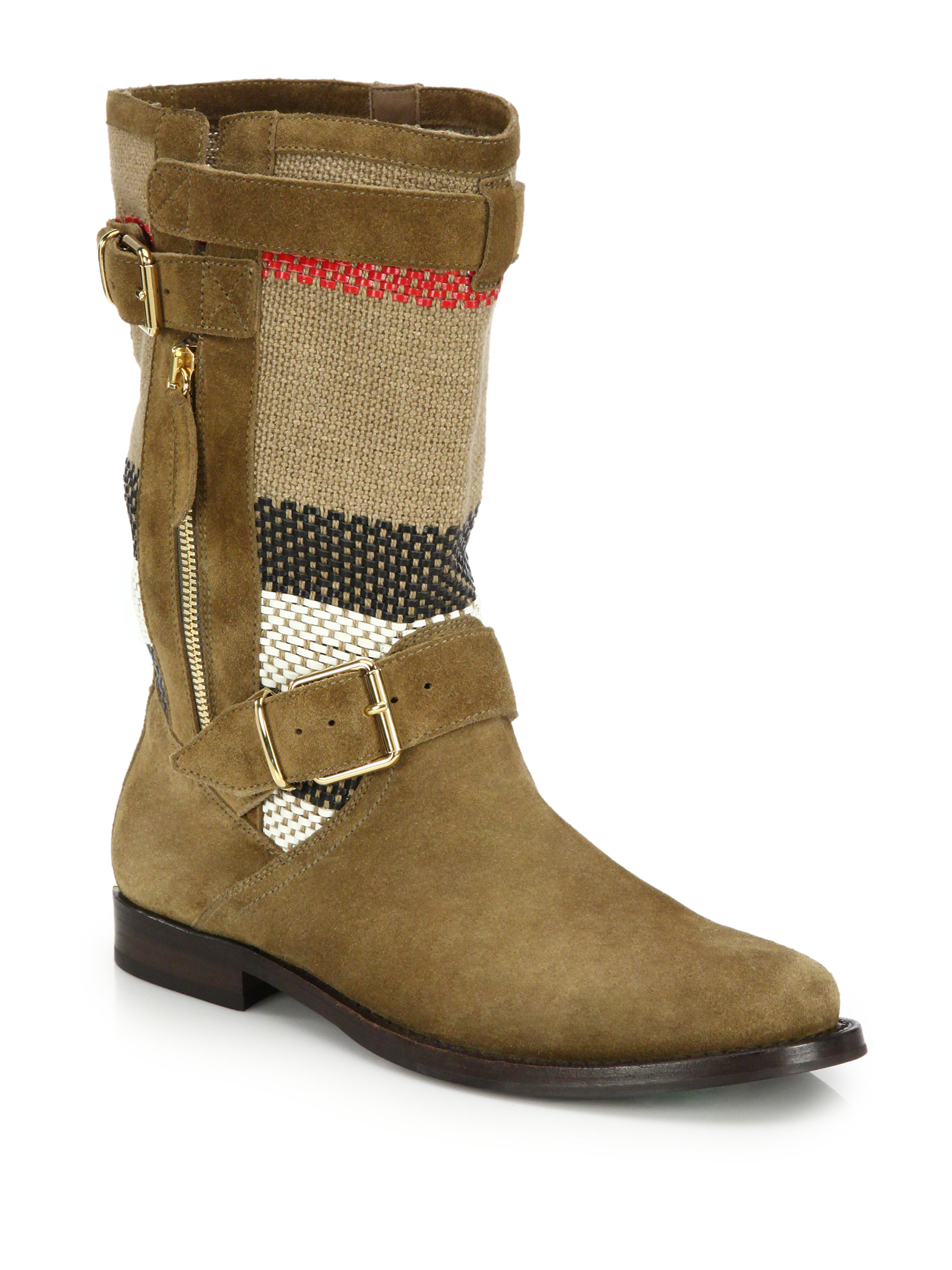Burberry Grantsone Suede Amp Canvas Check Moto Boots In