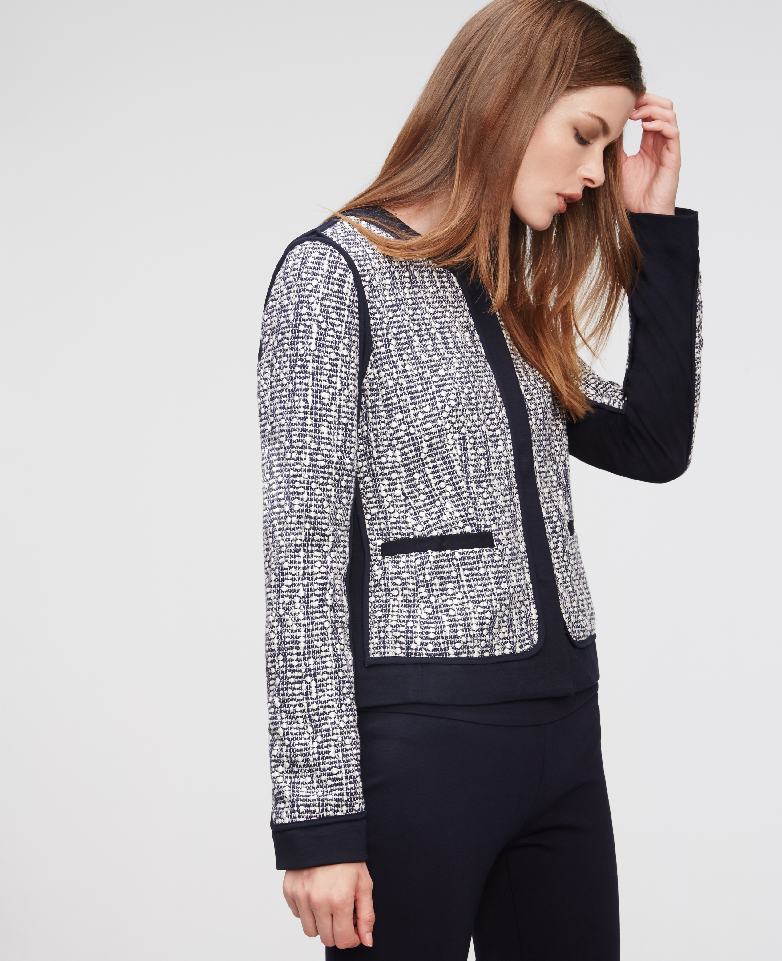 Ann taylor Petite Tweed Piped Jacket in Blue | Lyst