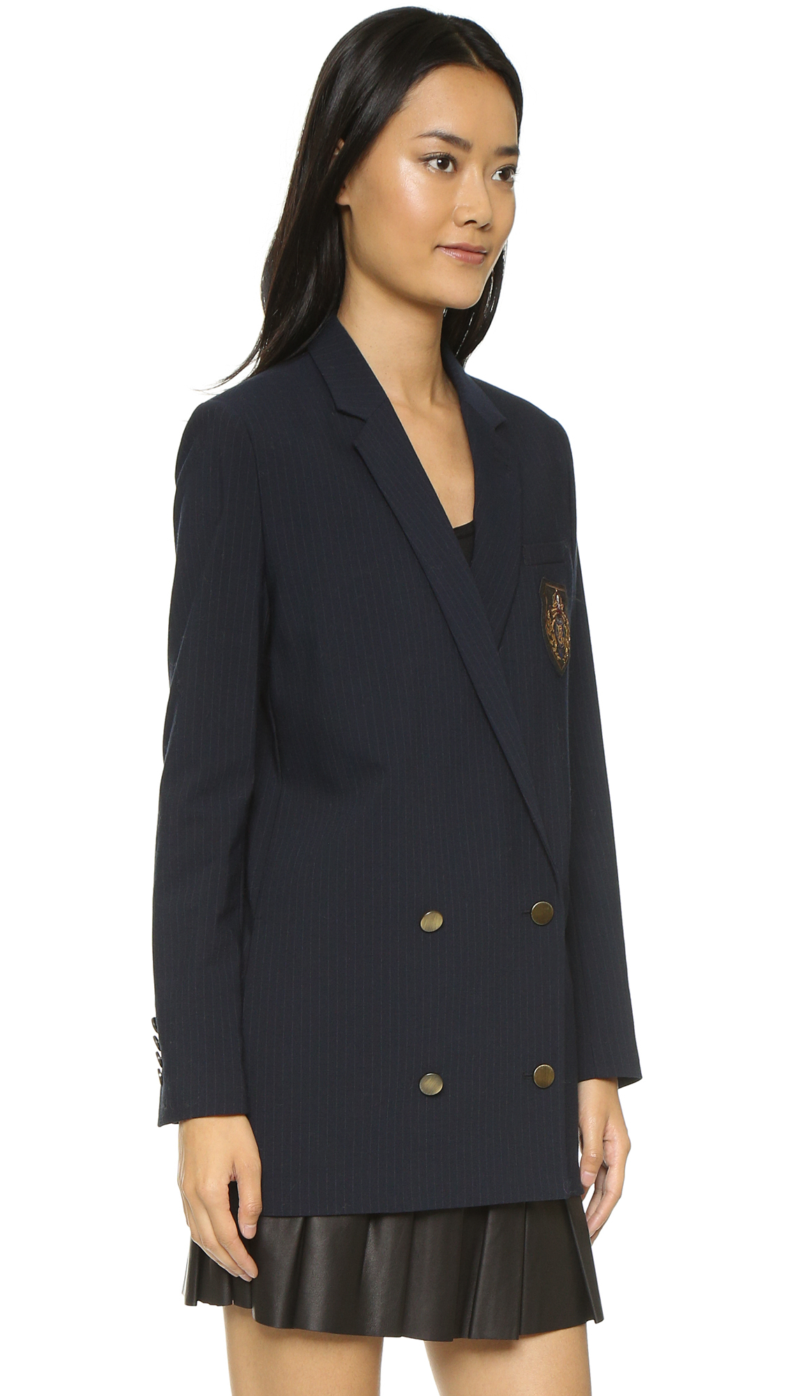 Lyst The Kooples Double Breasted Tennis Stripe Jacket Navy In Blue