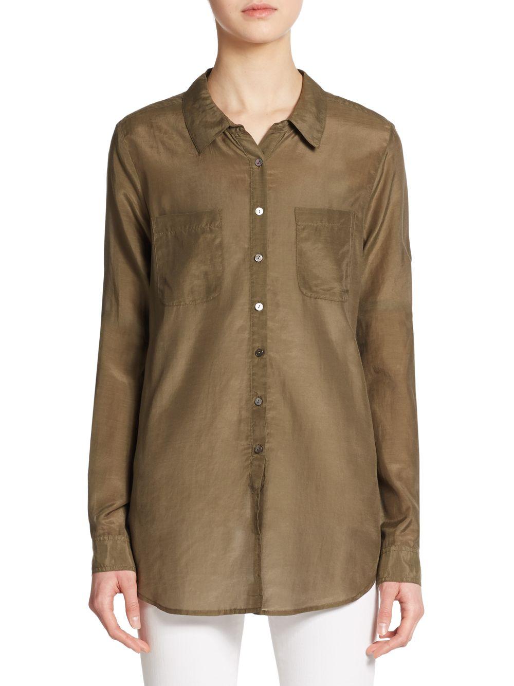Calypso St Barth Kesari Cotton Silk Button Down Shirt