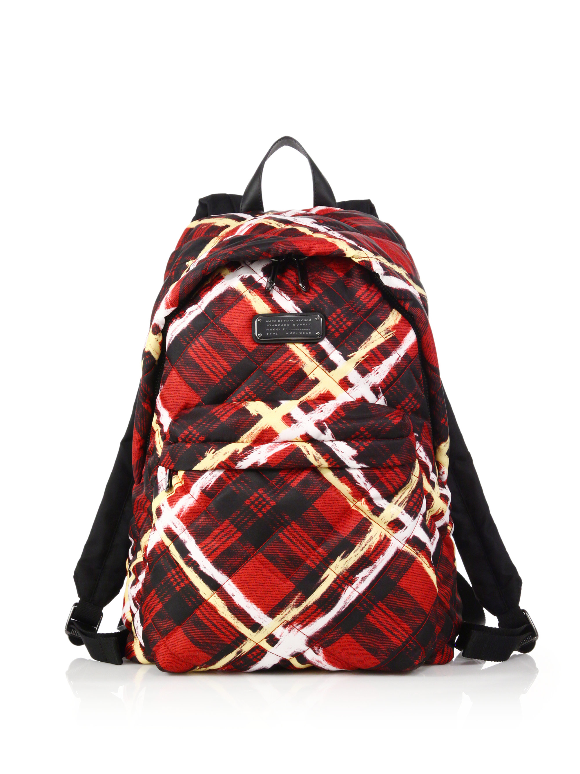 lyst marc by marc jacobs crosby quilted plaid nylon backpack in red. Black Bedroom Furniture Sets. Home Design Ideas
