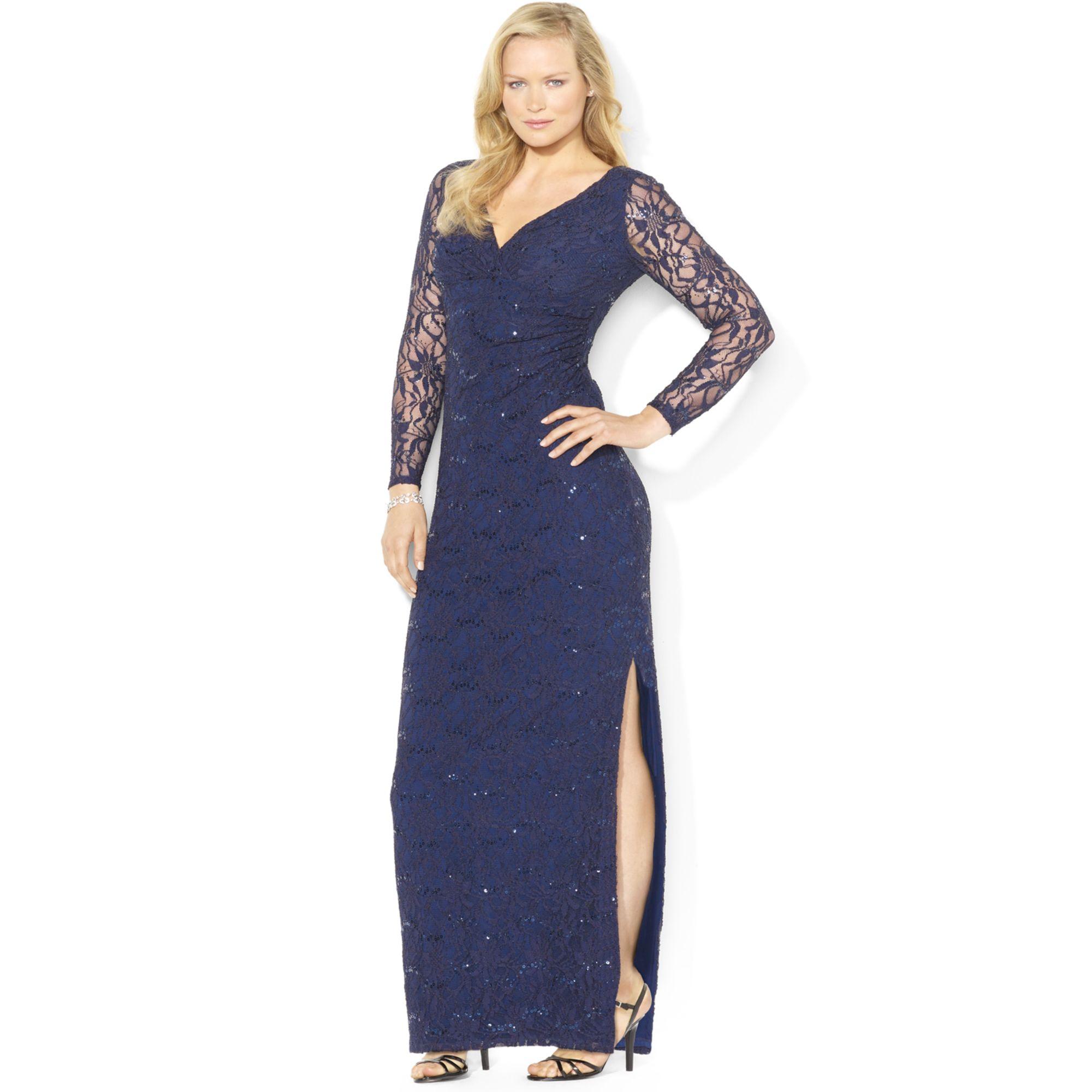 lauren by ralph lauren plus size longsleeve sequined lace
