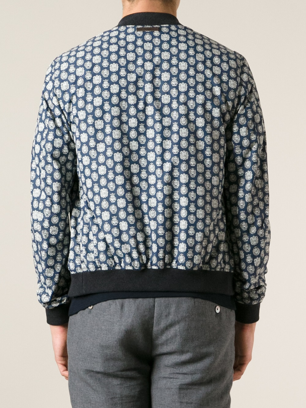 Dolce & Gabbana Crest Print Bomber Jacket in Blue for Men