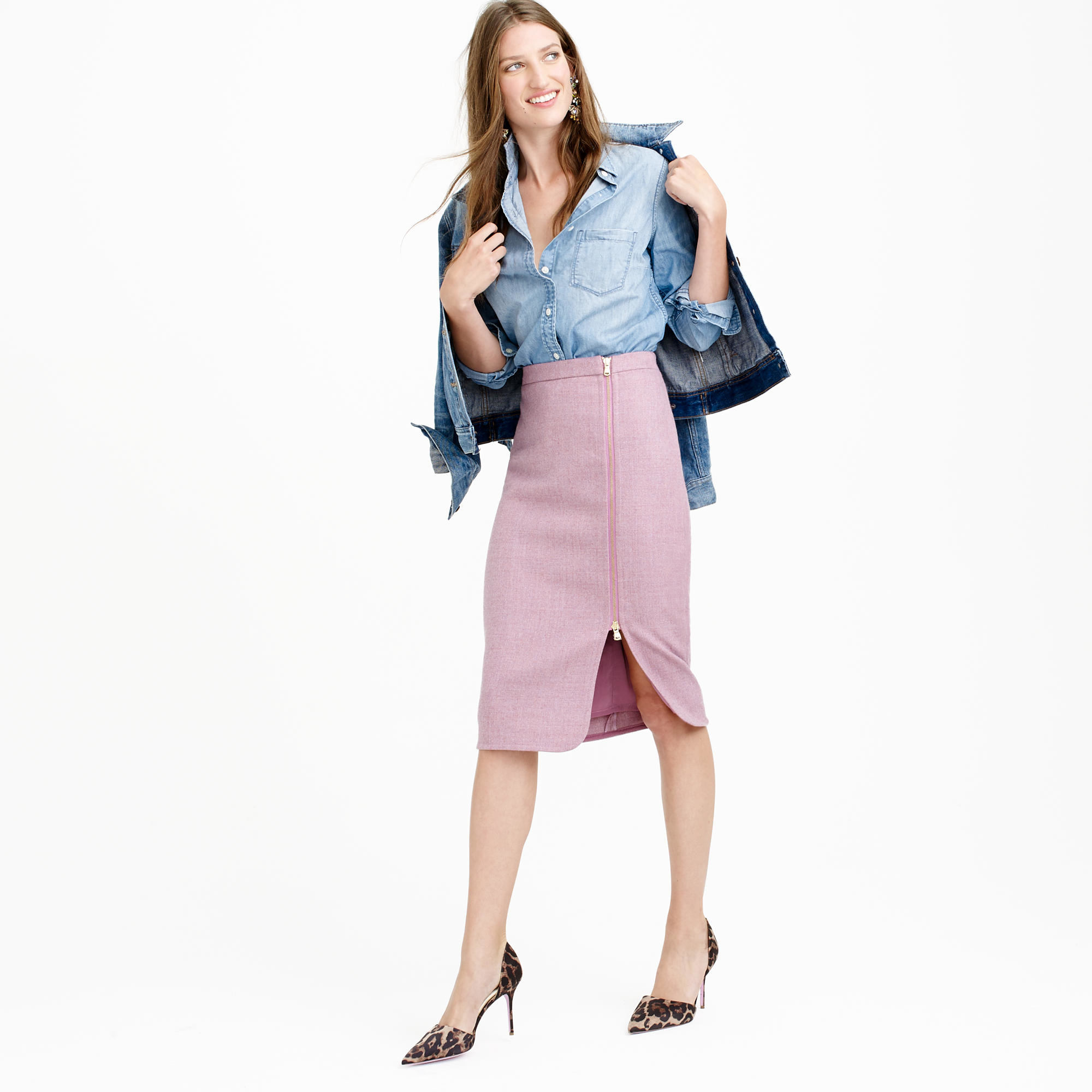 j crew wool zip pencil skirt in pink