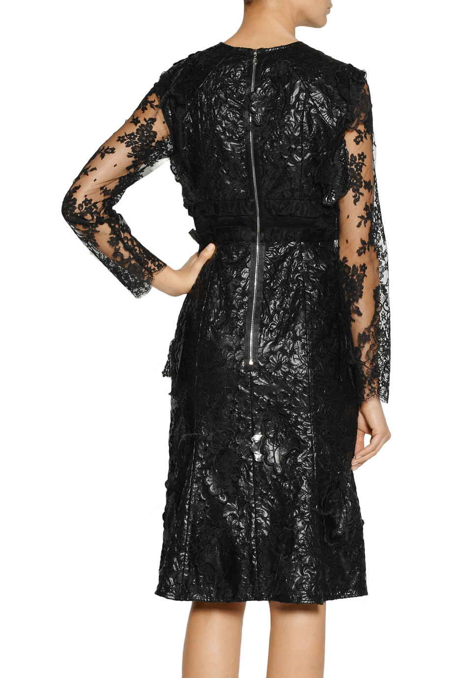 Erdem Bobin Embellished Faux Leather And Lace Dress In