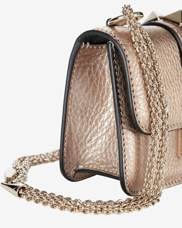 Valentino Mini Rockstud Lock Shoulder Bag: Rose Gold in Pink | Lyst