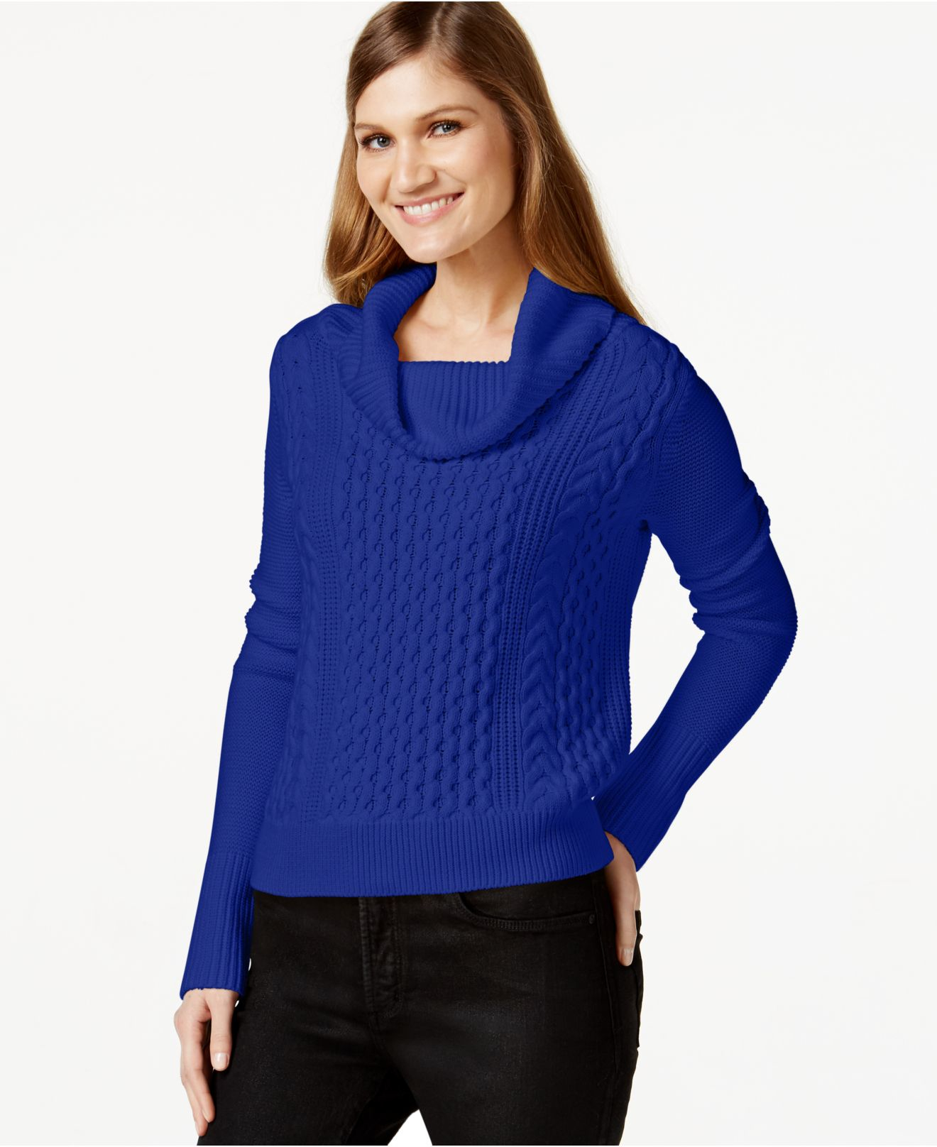 Cece by cynthia steffe Cowl-neck Cable-knit Sweater in Blue | Lyst