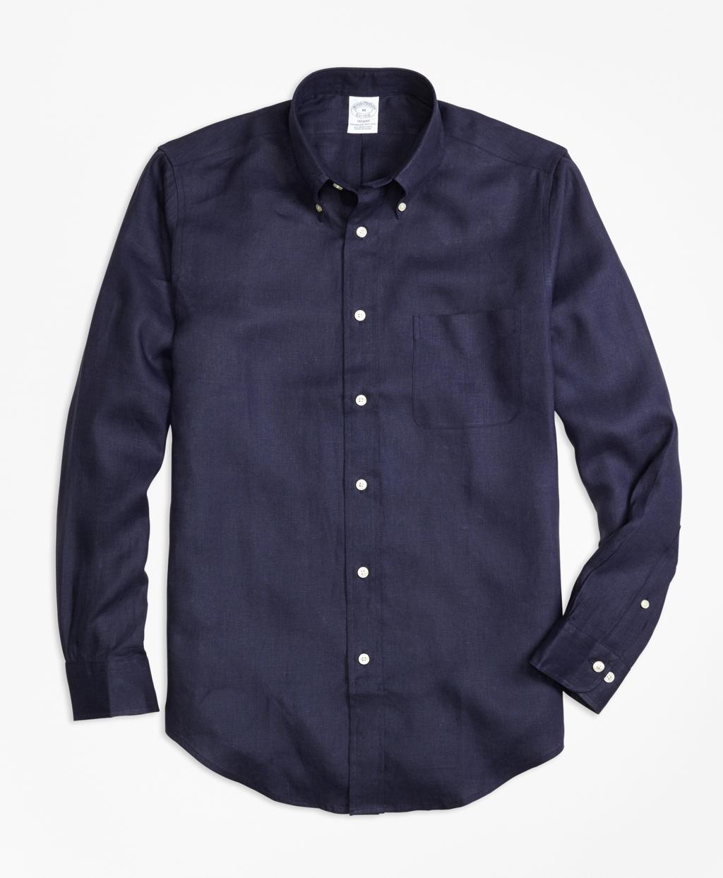 Brooks brothers regent fit irish linen sport shirt in blue for Irish linen dress shirts