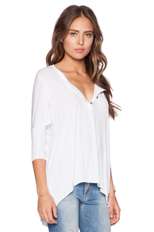 Dolan 3 4 sleeve henley tee in white lyst for 3 4 henley shirt