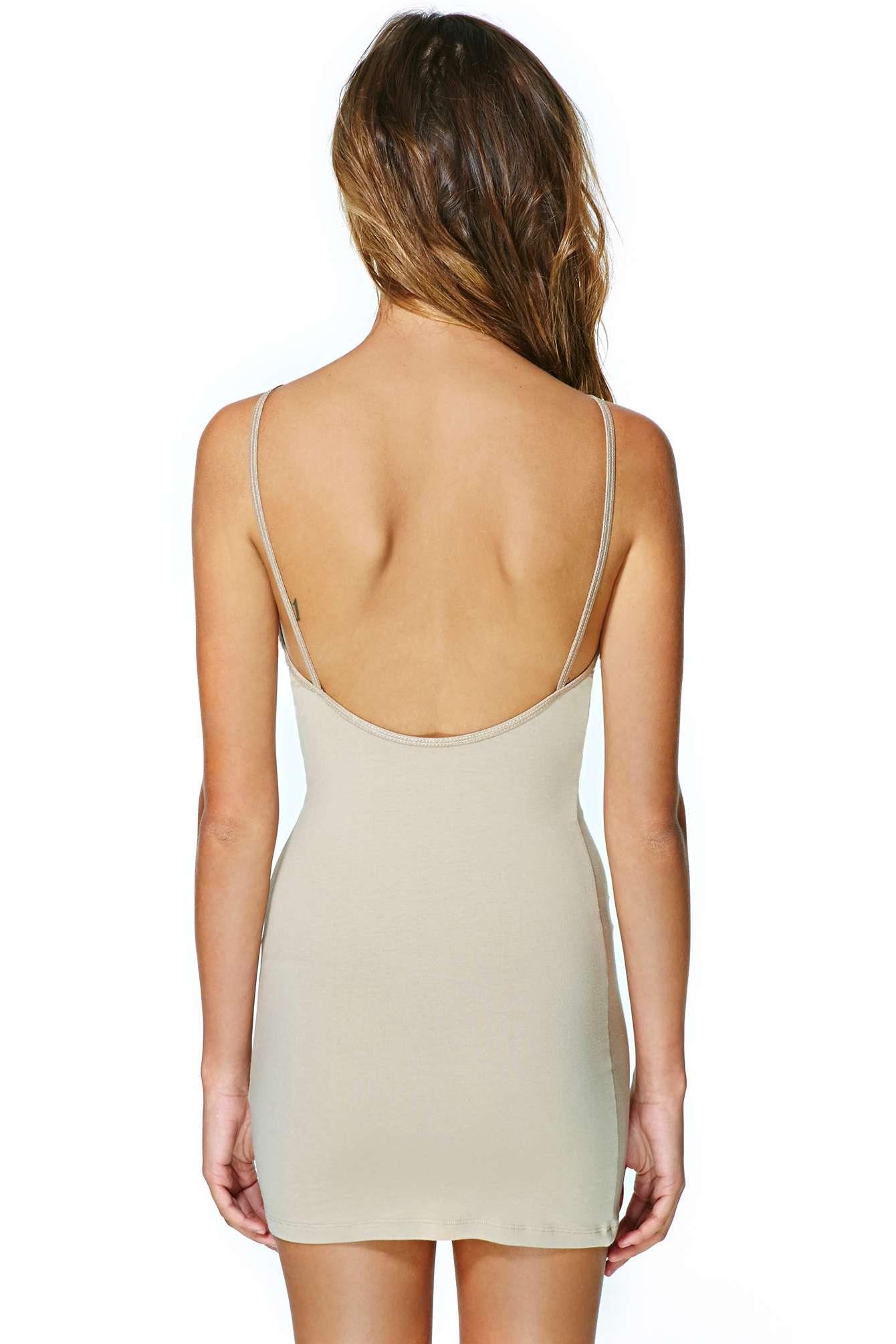 Lyst - Nasty Gal Basic Slip Dress - Nude In White-5271