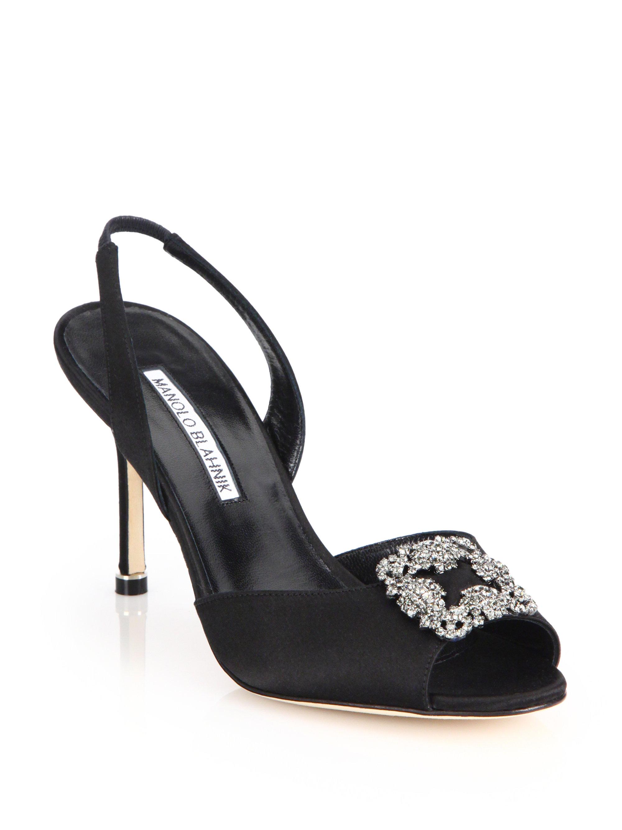 545034de87459 Lyst - Manolo Blahnik Cassia Jeweled Satin Slingback Sandals in Black