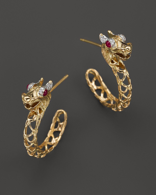 John Hardy 18k Gold Naga Diamond Pav 233 Medium Dragon Hoop