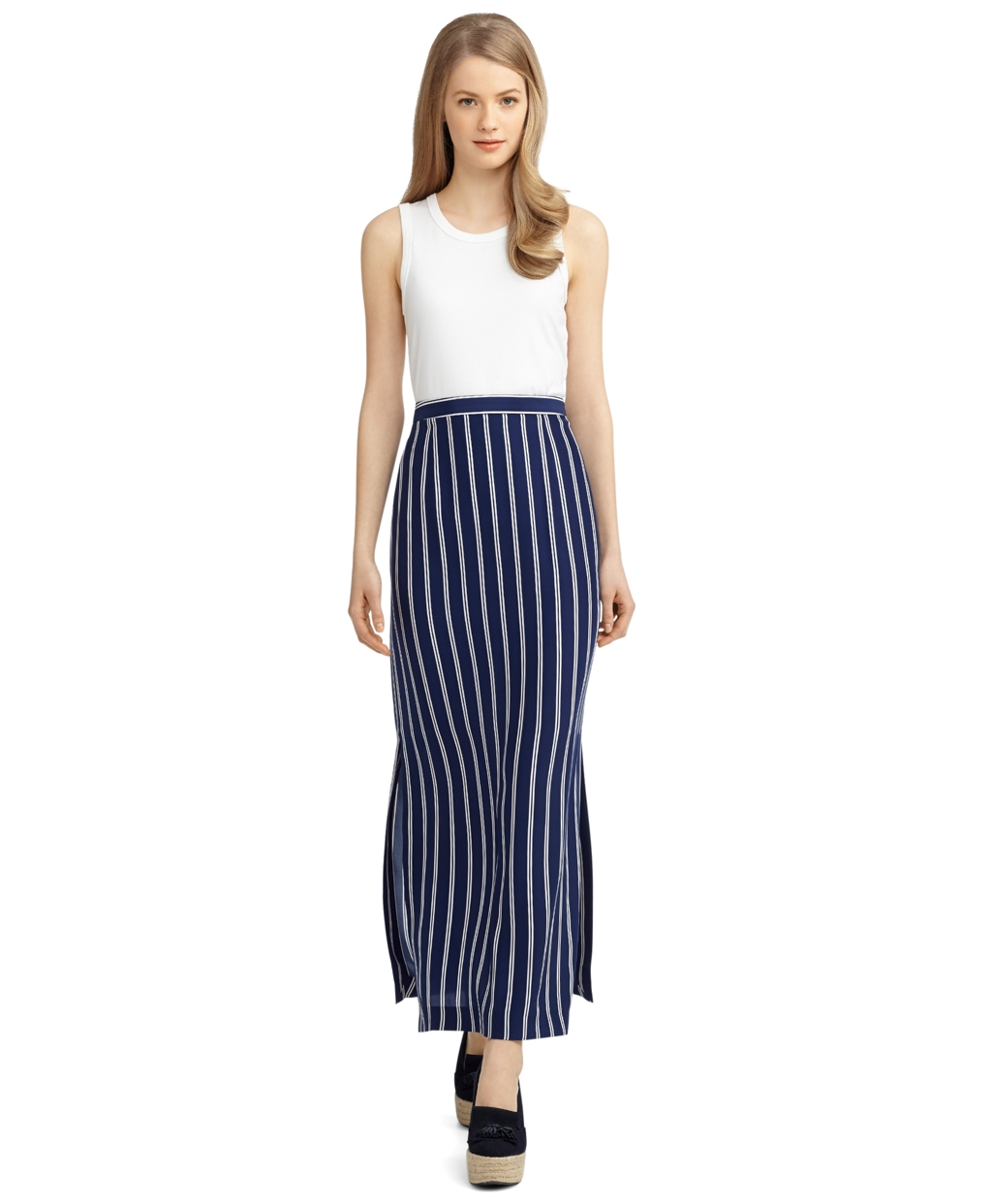 Brooks brothers Silk Double Stripe Long Skirt in White | Lyst