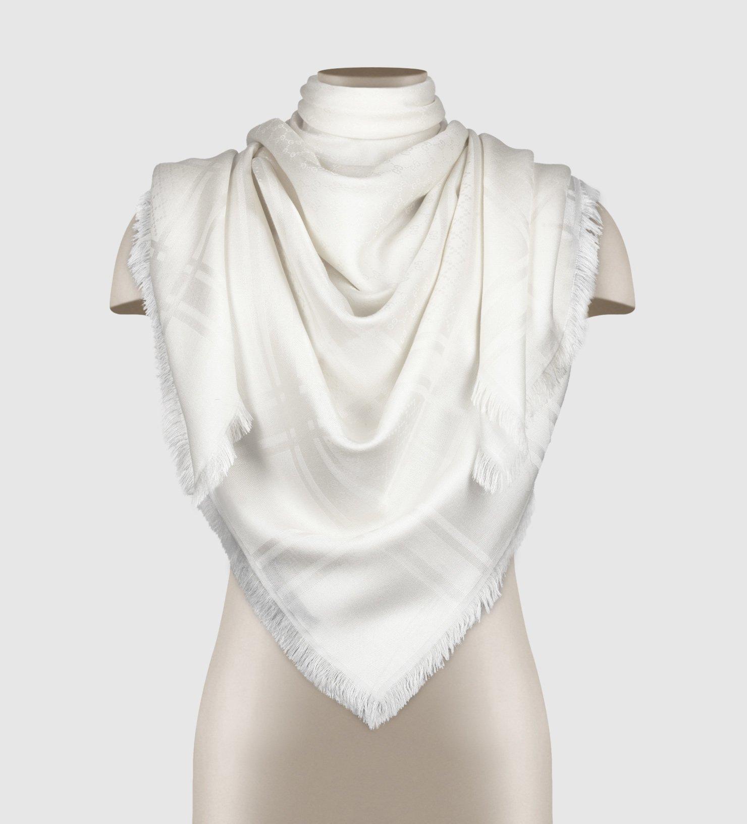 Gucci logo silk scarf - White Gucci A0xbpk7