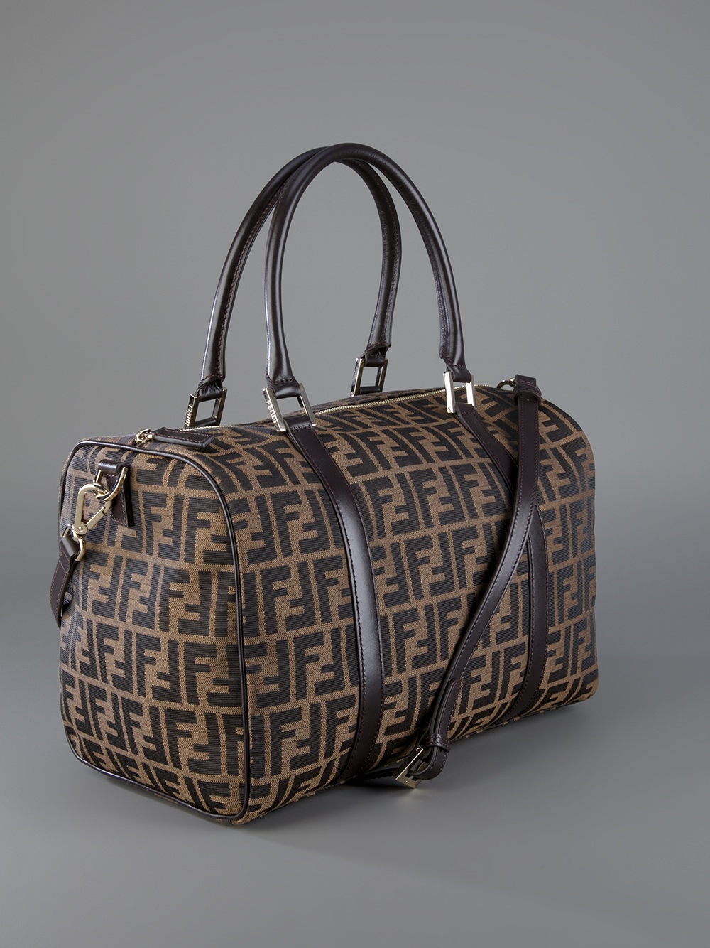 hot products detailing factory authentic Fendi Logo Print Bag in Brown - Lyst