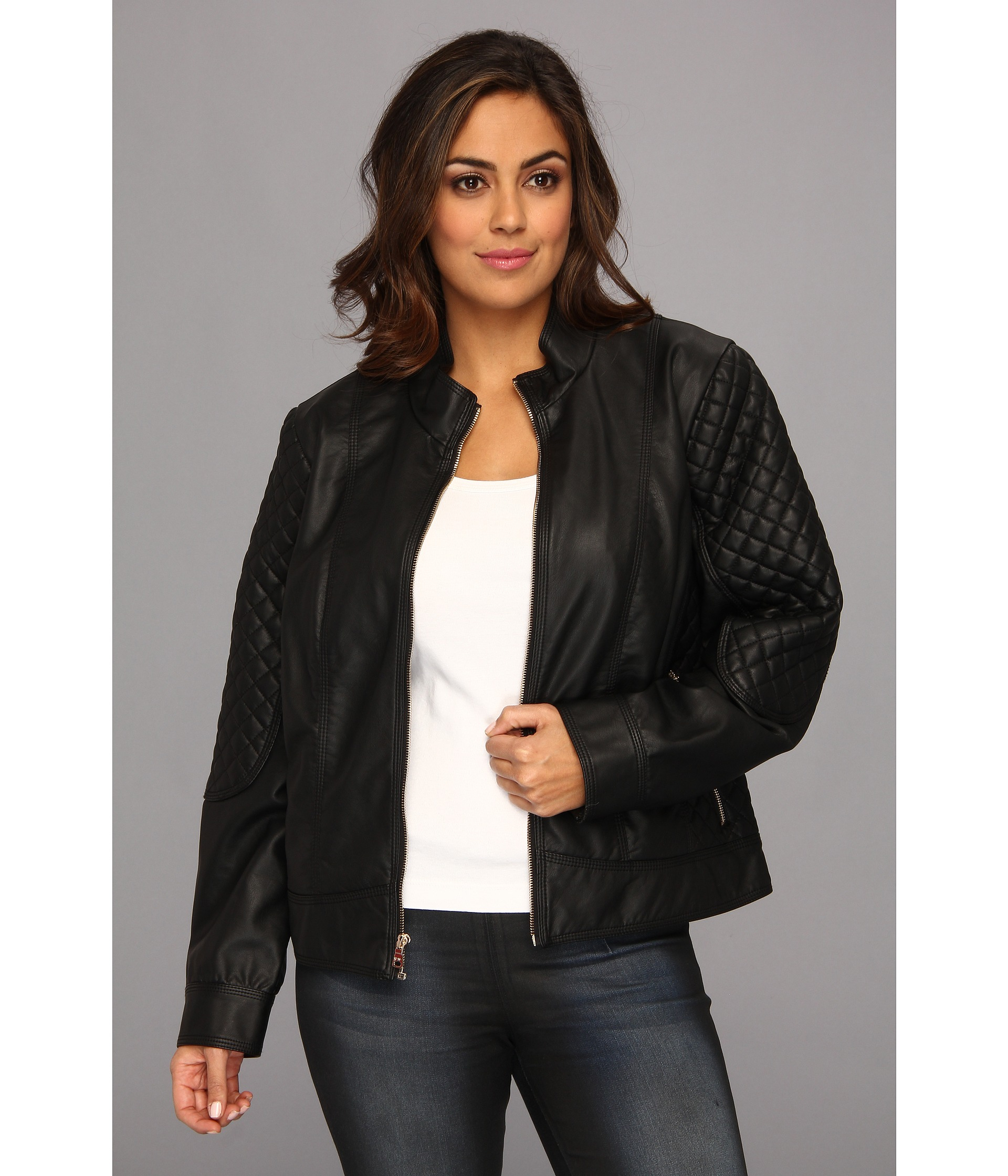Lyst Jessica Simpson Plus Size Quilted Faux Leather Moto Jacket