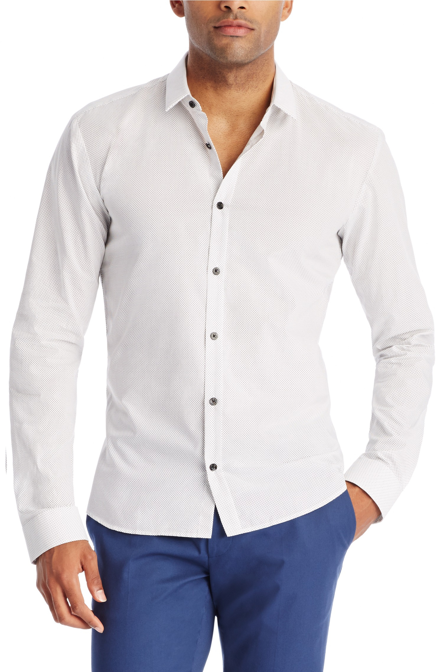 Hugo 39 ero 39 slim fit cotton button down shirt in white for Athletic fit button down shirts