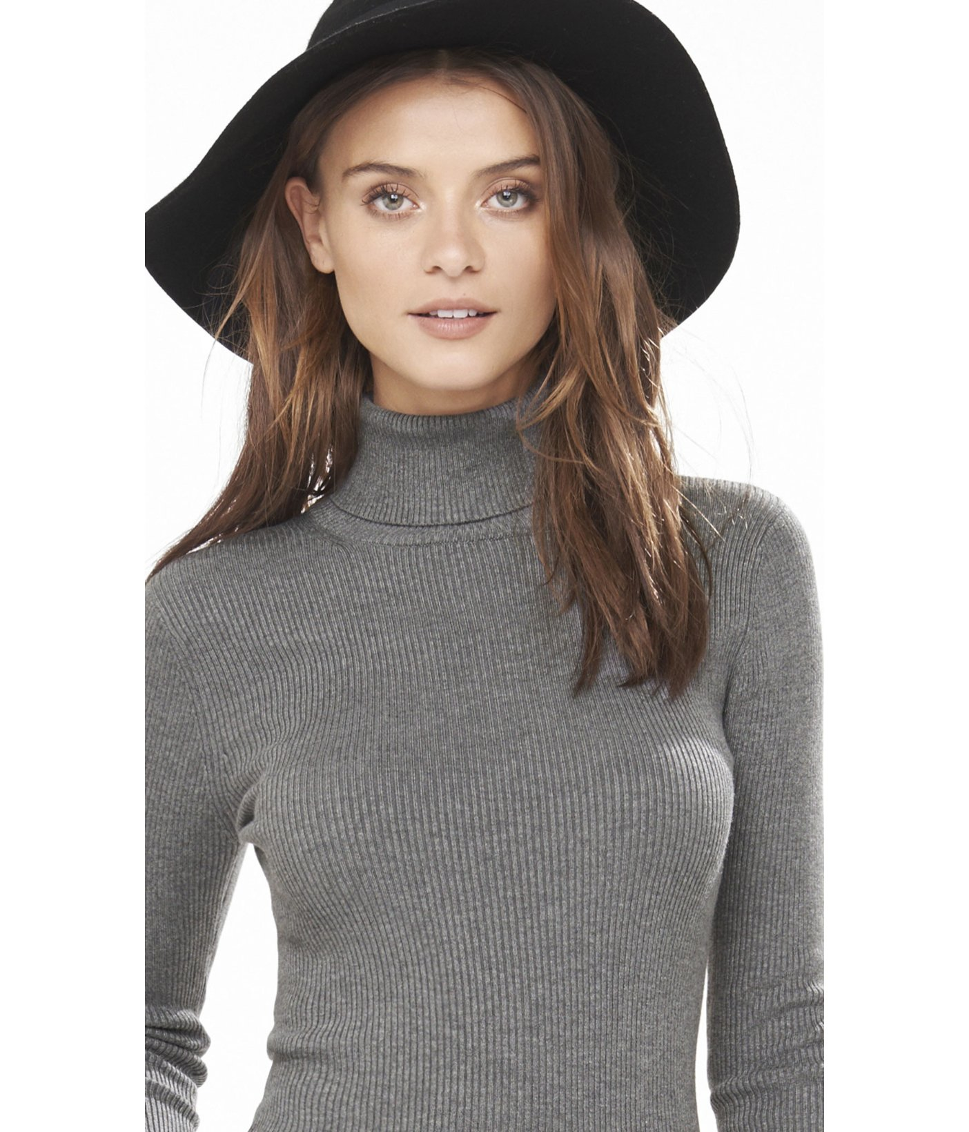 788e1d3c76b Lyst - Express Ribbed Turtleneck Sweater in Gray