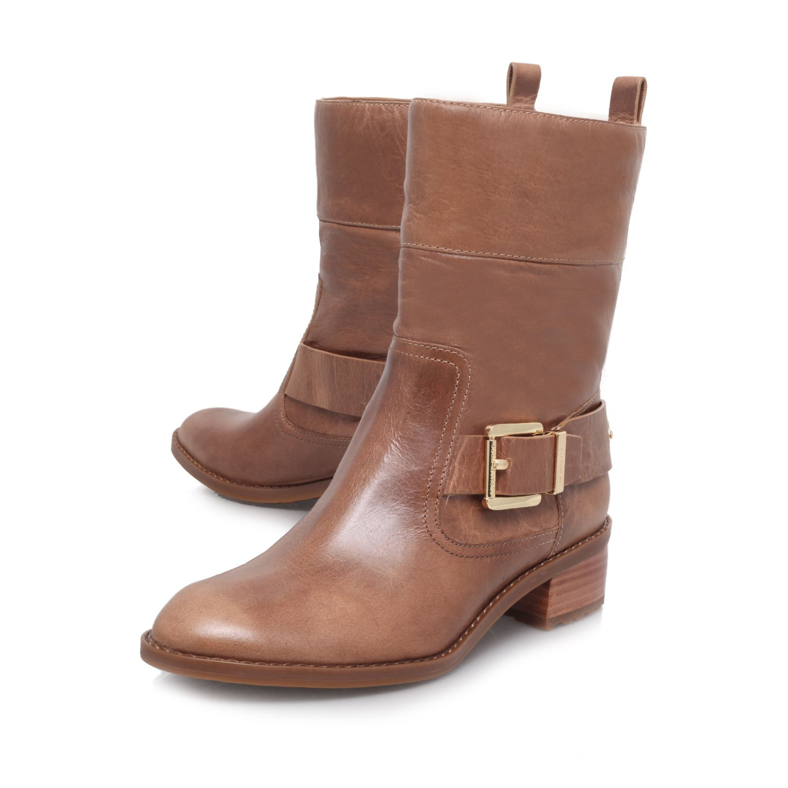 Michael Kors Leather Rosewell Ankle Boots in Taupe (Brown)