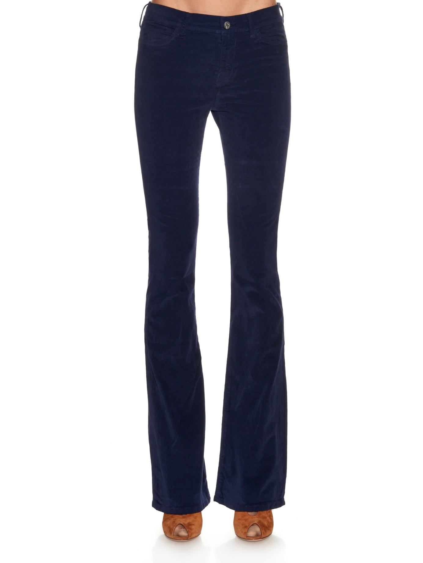 M.i.h Jeans Marrakesh Mid-rise Kick-flare Velvet Trousers in Navy (Blue)