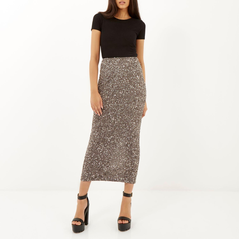 Womens Black sequin shirred maxi skirt River Island DQYfF